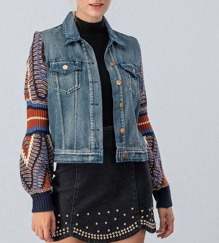Bubble Knit Sleeve Denim Jacket