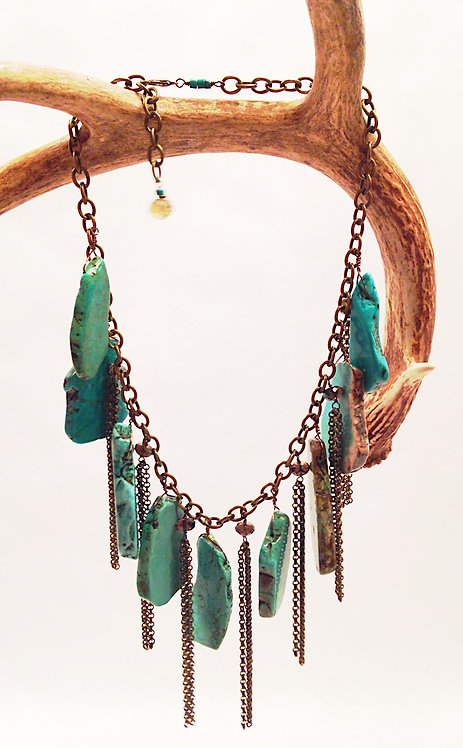 Rocker Chain and Turquoise Howlite Necklace