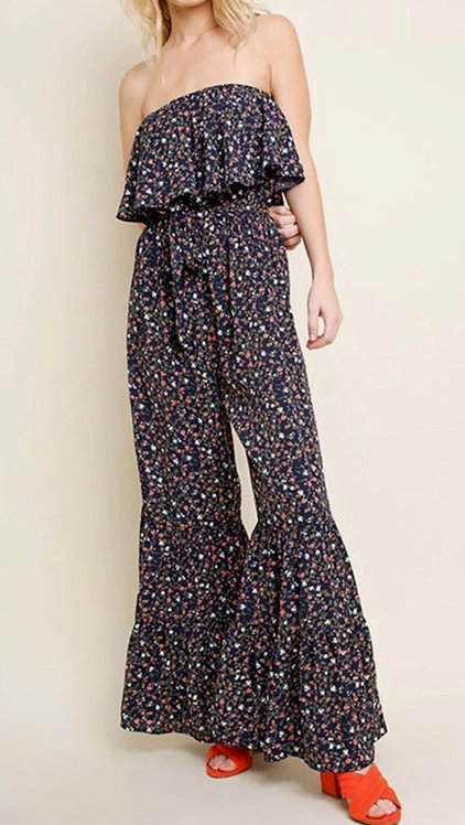 Ditzy Navy Floral Ruffled Wide Leg Jumpsuit