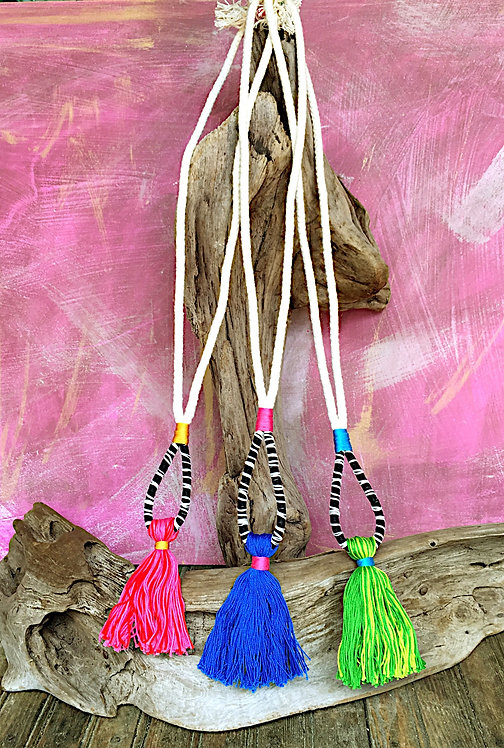 Cotton Tribal Tassel Necklace BLUE ONLY
