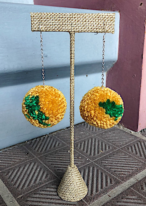Baylor Large Pom Drop Game Day Earrings