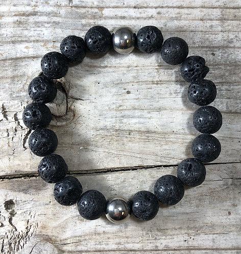 Men's Courage Lava Rock Stone Bracelet
