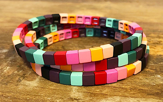 Multi BoHo Skinny Tile Bracelet