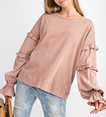 Vintage Rose Ruffled Sleeve Pullover