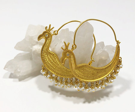 Designer Collection * Pearly Peacock Hoops