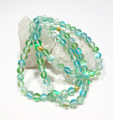 Green Rainbow Moonstone Bracelet