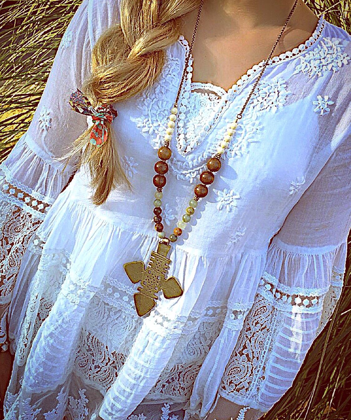Large Ornate Brass Cross Necklace
