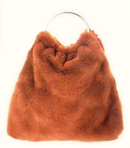 Furry Brown Bangle Bag
