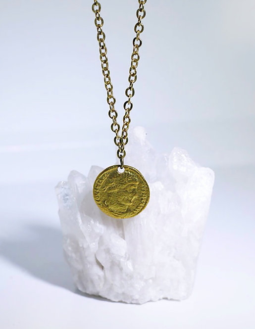 Small Brass Coin Necklace
