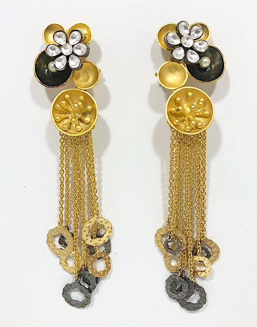 Designer Collection * Two-Toned Art Deco Statement Earrings