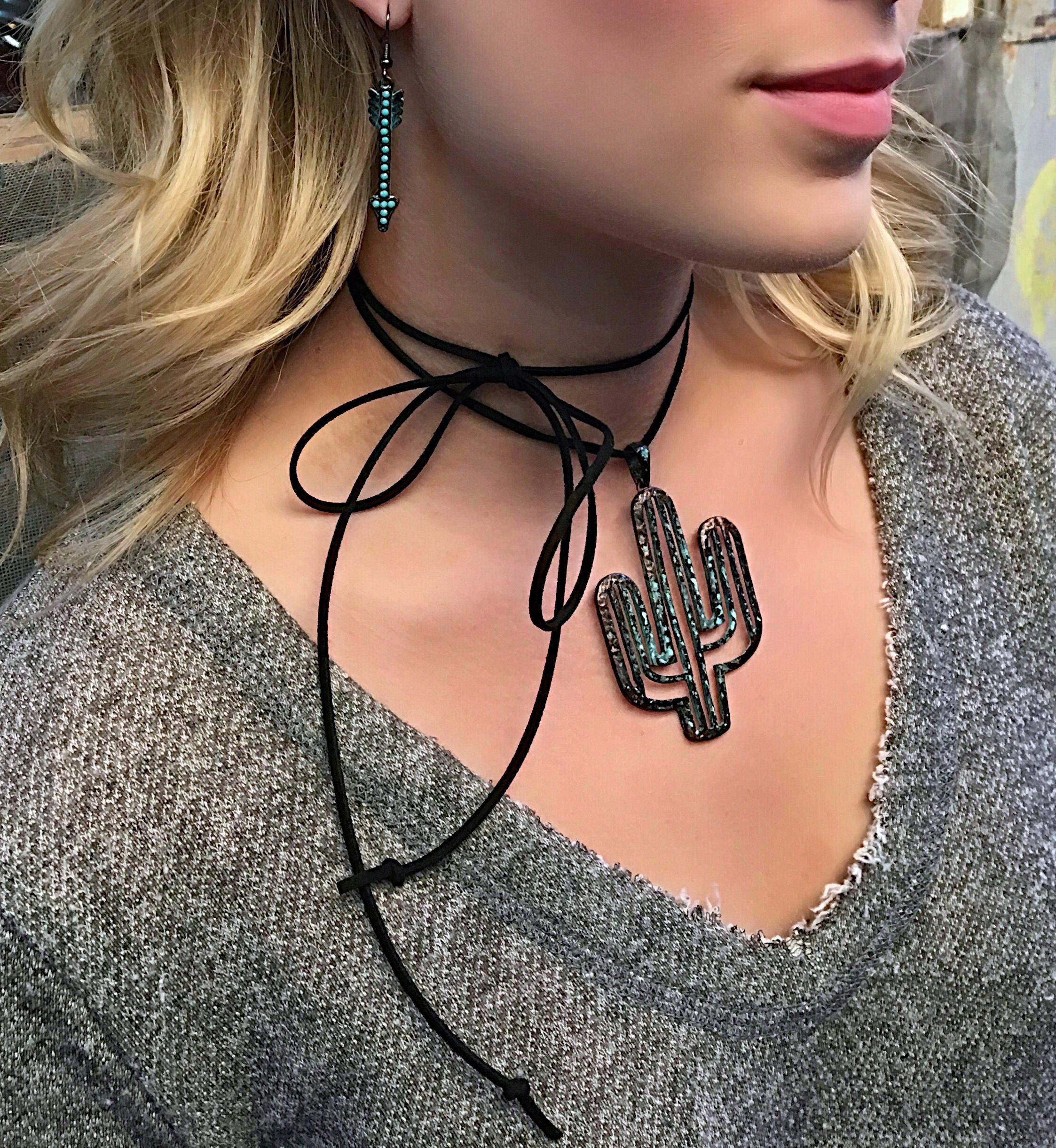 Patina Cactus Wrap Necklace