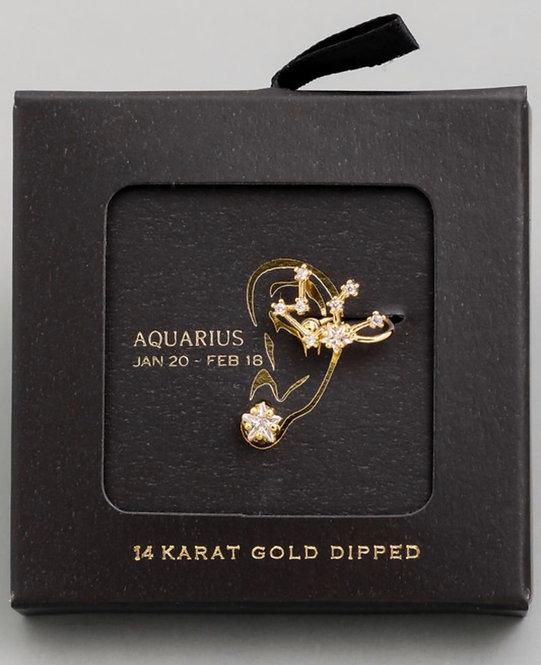Aquarius Zodiac Ear Cuff and Stud Set