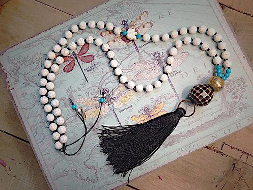 Jade Tribal Black Tassel Necklace
