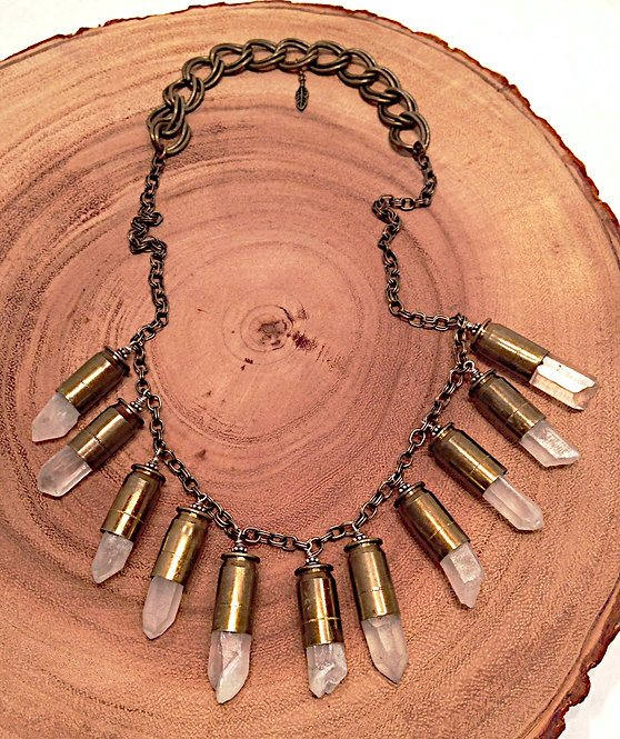 Raw Crystal Bullet Bib Necklace