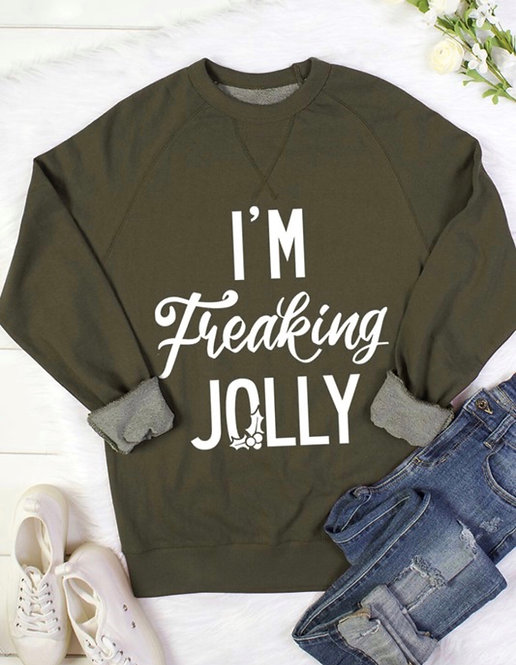 """I'm Freaking Jolly"" Unisex French Terry Sweatshirt"