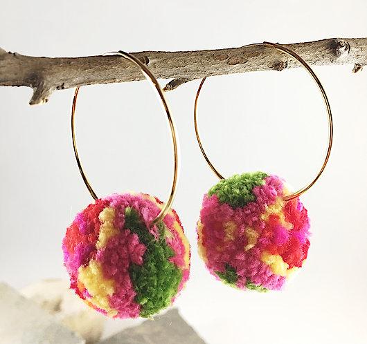 Multi-colored Pom Hoop Earrings