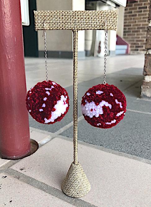 University of Arkansas Large Pom Drop Game Day Earrings