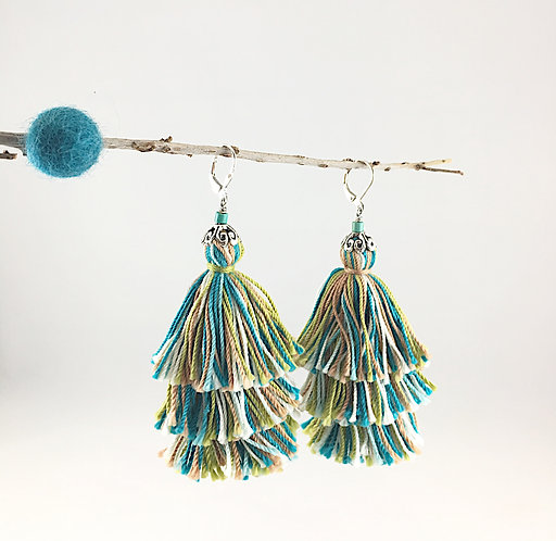 Fall Folkloric Tiered Tassel Multi-Green Earrings