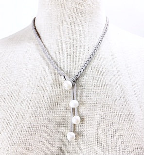 Braided Grey Vegan Leather & Pearl Drop Necklace