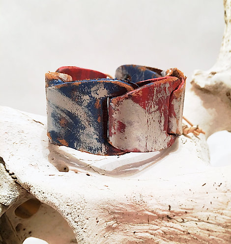 Red, White & Blue Leather Cuff