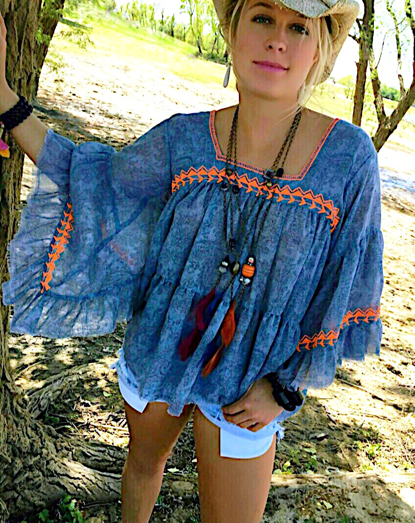 BoHo Bright Tribal Feather Necklace