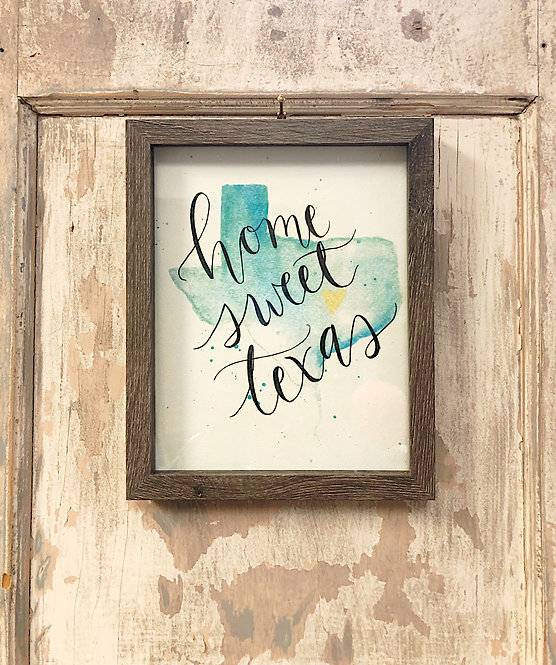 """Home Sweet Texas"" Watercolored Framed Print"