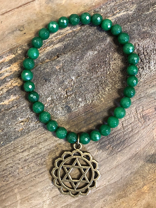 """Balance Your Chakra"" HEART Jade Charm Bracelet"