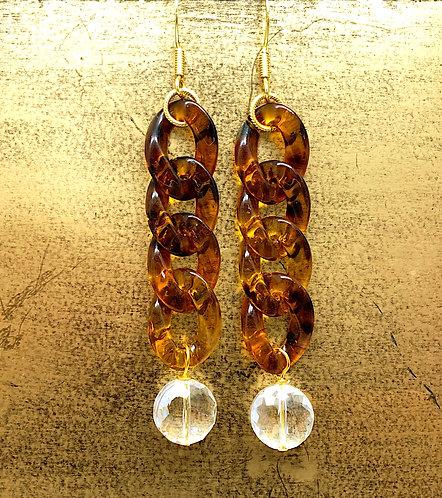 Acrylic Tortoise Chain Crystal Drop Earring