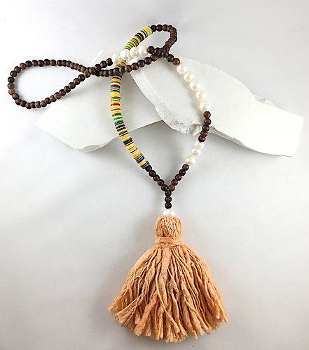 Cotton Dyed Tassel African Vinyl Necklace