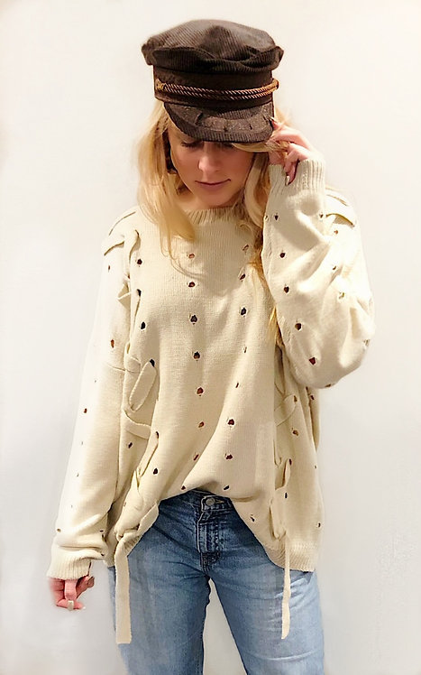 Lace Up Cable Pullover Knit Sweater