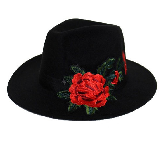 Black Felt Fedora Hat with Embroidered Roses