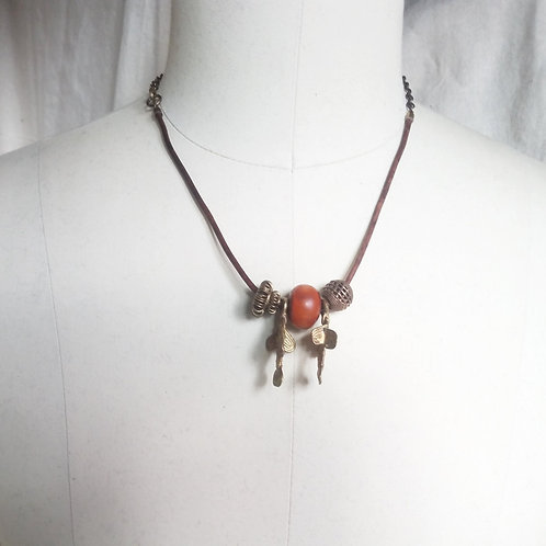 Brass Fish & Amber Leather Cord Necklace