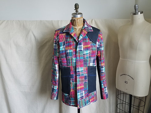 Plaid Patchwork/Denim Blazer