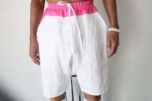 White Linen/Hot Pink Dropcrotch Shorts