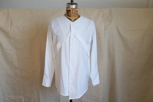 White Cotton VCollarless Shirt w/Crossbody Straps