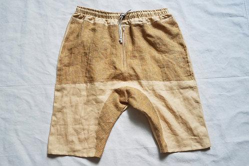 Dropcrotch Linen Shorts-Mexican Corn