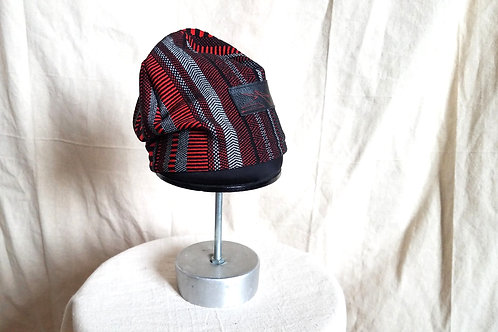 Ethnic Stripe Skullie w/Leather Bar