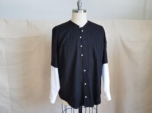 Mixed Cotton Collarless Shirt