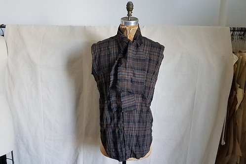 Plaid Sleeveless Scarf Shirt