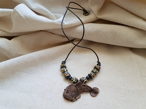 Antique Brass Fish Leathercord Necklaces w/Dark Beads