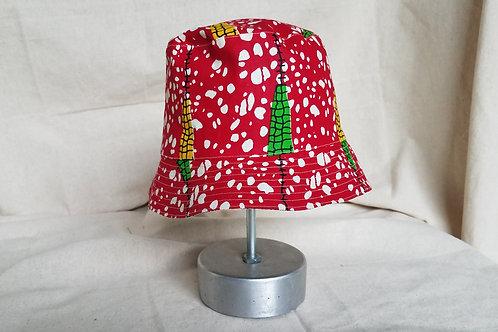 Reversible Bucket Hat-Red Speckle Corn Print/Peach Indigo Print