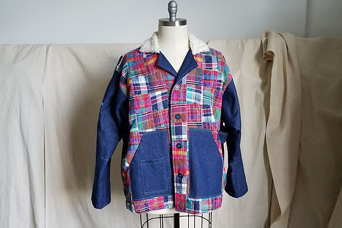 Plaid Patchwork/Denim Workers Jacket