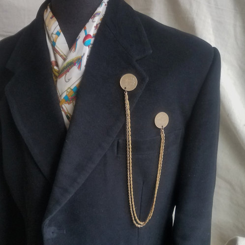 Two Brass Coin Lapel Chain Pin
