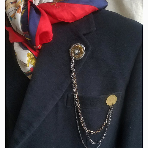 Glass Bead & Coin Lapel Pin