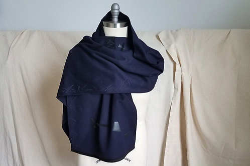 Ink Blue Coat Scarf w/Abzag Stitch