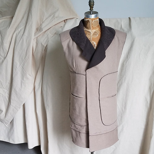 Shawl Collar Sleeveless Coat w/Oversized Pockets