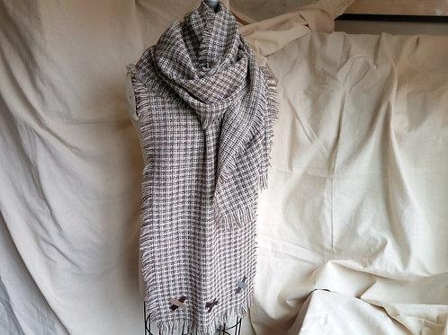 Oversized Frayed Wool Scarf w/ Leather Motif