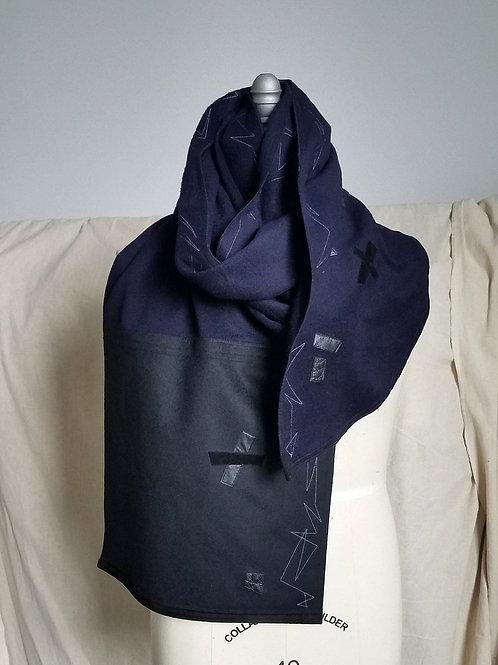 Ink Blue/Black Coat Scarf w/Abzag Stitch