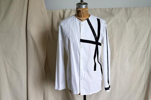 White Cotton VCollarless Shirt w/Vintage Grosgrain Ribbon