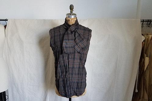 Plaid Sleeveless Scarf Shirt